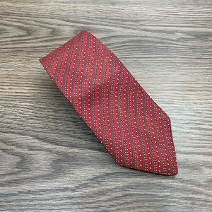 Christian Dior Red w/Grey & White Check Stripe Tie